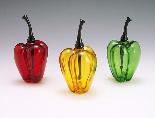 Bell Pepper Perfume Bottles - Art Glass Perfume Bottle - by Garrett Keisling