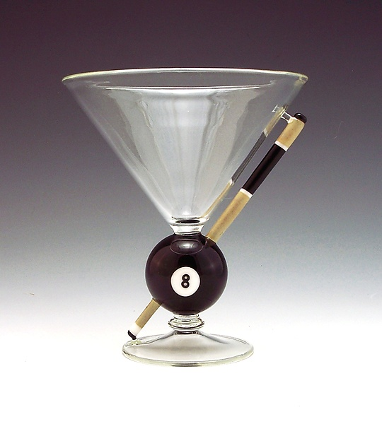 8-Ball, Corner Pocket - Art Glass Stemware - by Garrett Keisling