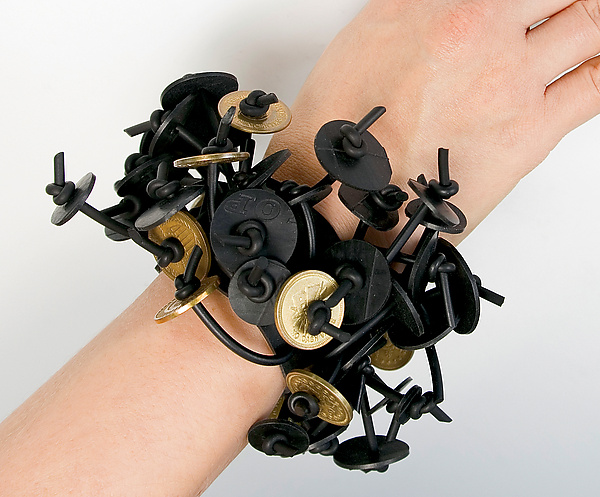Penelope Bracelet with Tokens - Metal & Rubber Bracelet - by Kathleen Nowak Tucci