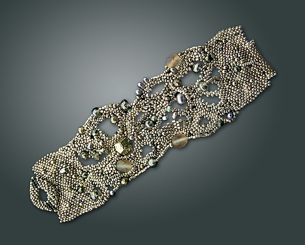 Silver Nebula Cuff - Beaded Bracelet - by Julie Powell