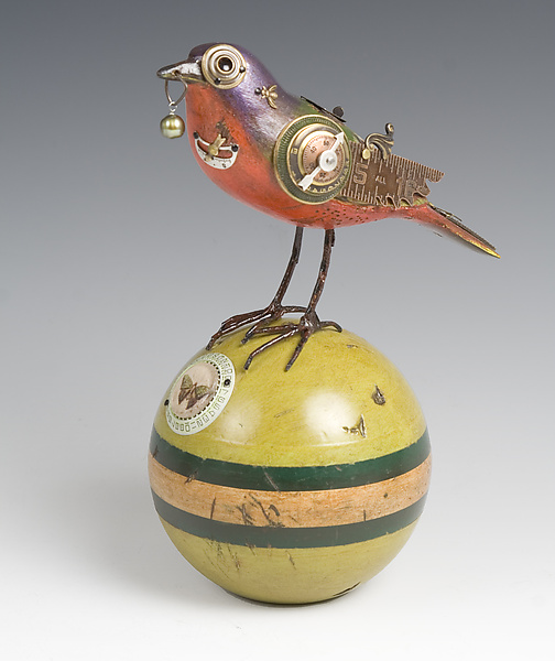 Painted Bunting on Croquet Ball - Wood Sculpture - by James Mullan