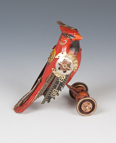 Cardinal on Wheels - Wood Sculpture - by James Mullan
