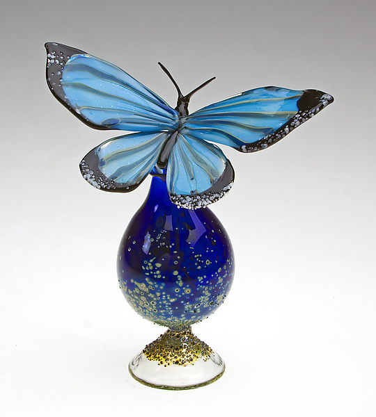 Blue Morpho Bottle - Art Glass Perfume Bottle - by Loy Allen