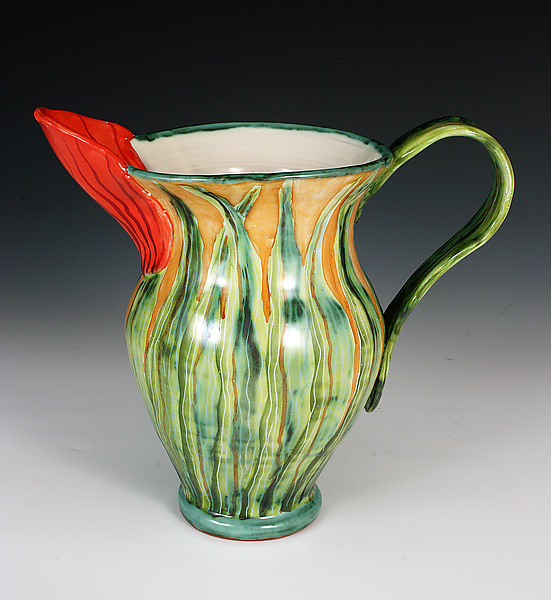 Tulip Pitcher - Ceramic Pitcher - by Peggy Crago