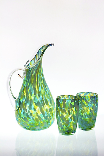 Fleur Pitcher and Tumbler Set - Art Glass Pitcher & Tumblers - by Cal Breed