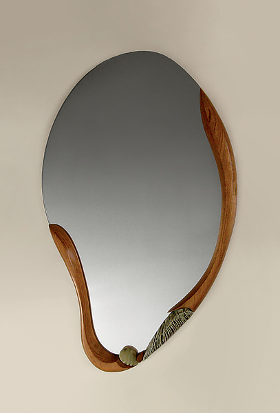 Ocean Wave - Ceramic & Wood Mirror - by Jan Jacque