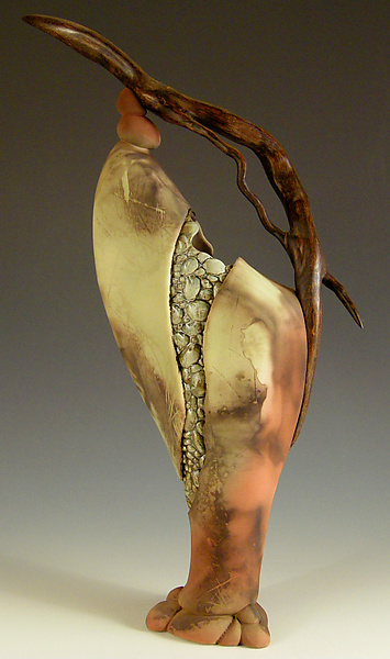 State of Change - Ceramic & Wood Sculpture - by Jan Jacque