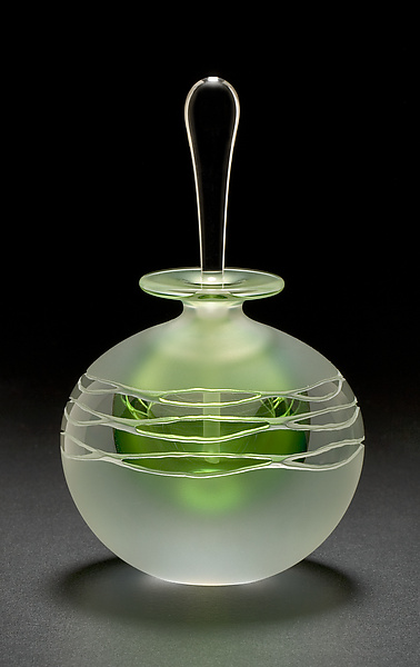 Green Wave Perfume Bottle - Art Glass Perfume Bottle - by Mary Angus