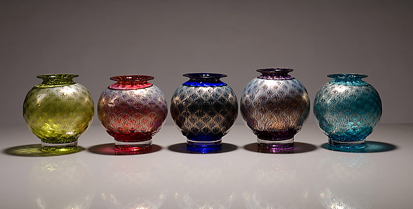 Pineapple Silver Leaf Vessels - Art Glass Vase - by Drew Hine