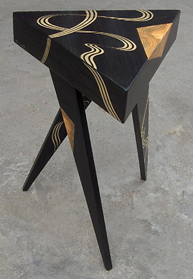 Kyoto Tri Twist Leg Table - Wood Side Table - by Daniel Grant and Ingela Noren