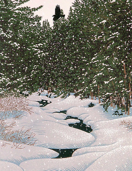 Snowy Caw - Linocut Print - by William Hays