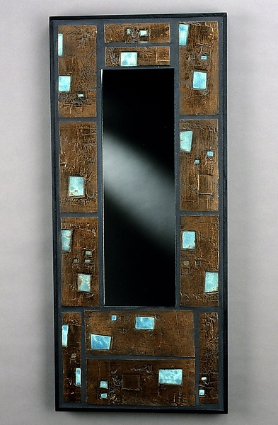 No.2 Mirror Copper with Blue Raku - Ceramic Mirror - by Eileen Young