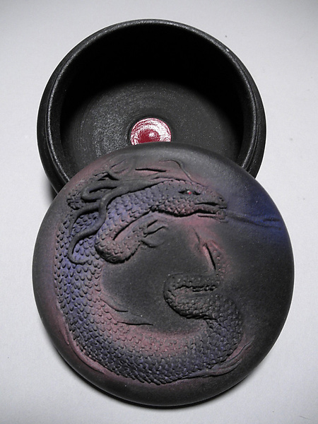 Black Dragon Box - Ceramic Box - by Nancy Y. Adams