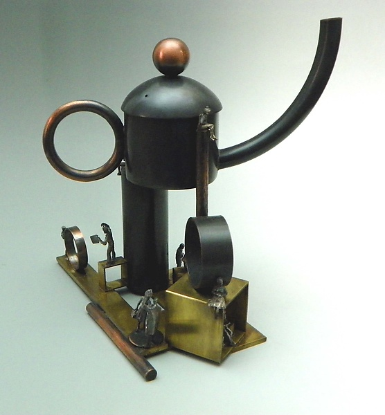 Perplexi-Tea - Metal Teapot - by Malcolm Owen and Mary Ann Owen