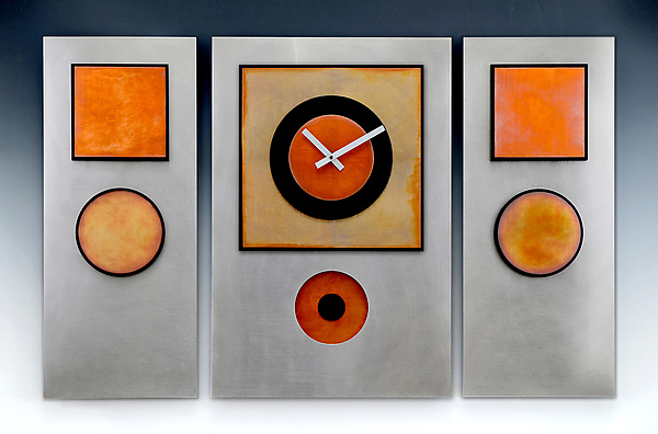Steel & Copper Triptych Pendulum Clock - Metal Clock - by Leonie Lacouette