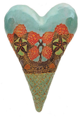 Sarah's Basket - Ceramic Wall Art - by Laurie Pollpeter Eskenazi