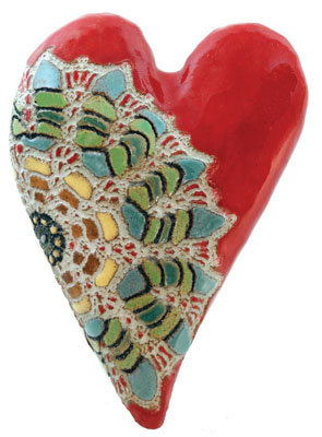 Julia's Heart - Ceramic Wall Art - by Laurie Pollpeter Eskenazi