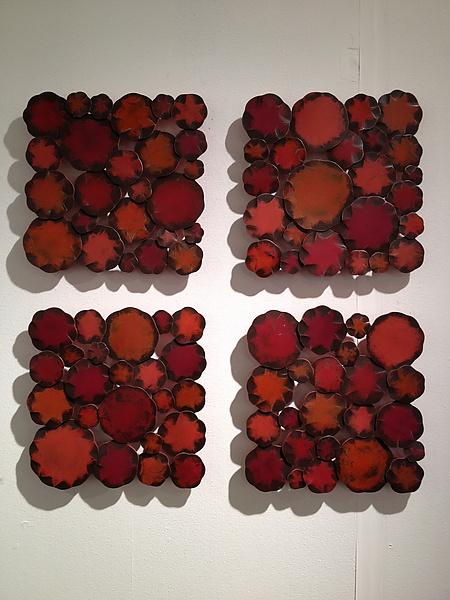 Ruby Squares - Metal Wall Art - by Susan Madacsi