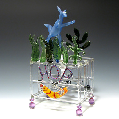 Hop - Art Glass Sculpture - by Bandhu Scott Dunham