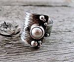 Silver & Pearl Ring by Delias Thompson