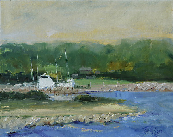 Inland harbor - Oil Painting - by Leslie Dyas