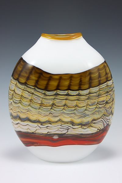 Large Sargasso Wide Pouch - Art Glass Vase - by Danielle Blade and Stephen Gartner