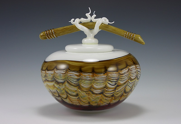 Sargasso Covered Bowl with Bone & Tendril Finial - Art Glass Vessel - by Danielle Blade and Stephen Gartner