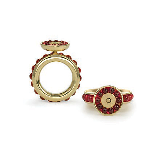 Pomegranate Ring - Gold & Stone Ring - by Gillian Batcher