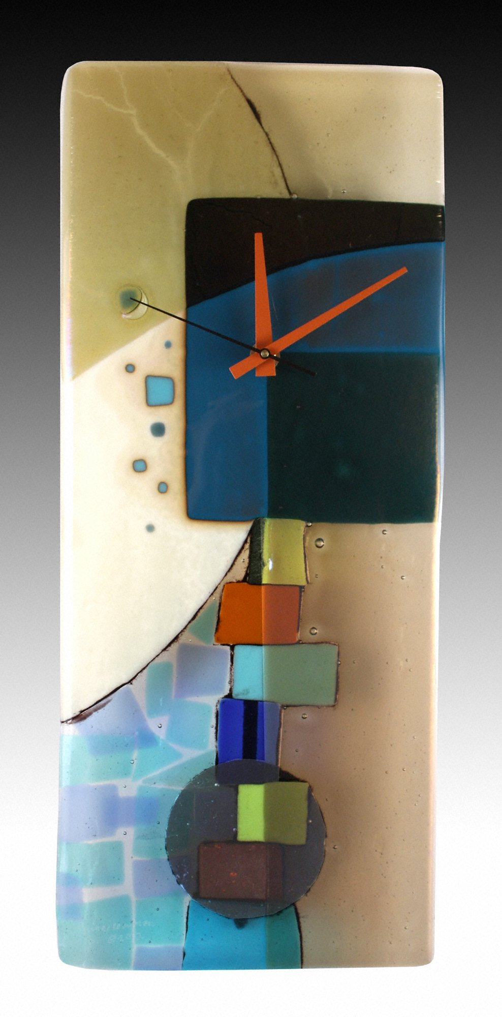 Andrea Fused Glass Pendulum Clock - Art Glass Clock - by Nina Cambron
