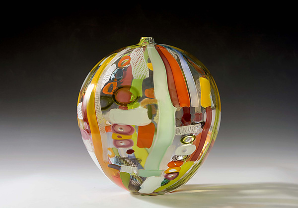 Tapestry Sphere - Art Glass Sculpture - by Bengt Hokanson and Trefny Dix