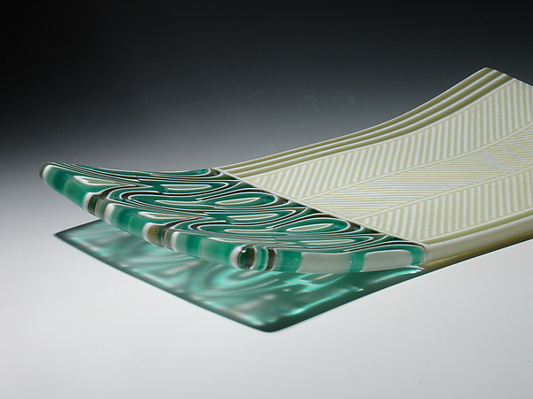 Aqua Feathers Tray - Art Glass Tray - by Patti & Dave Hegland
