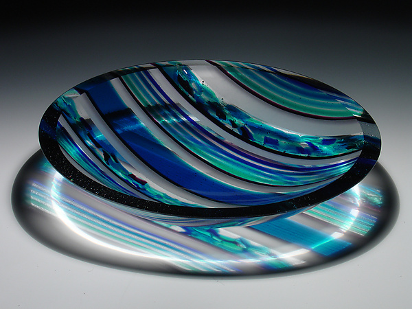 Horizons Edge Blue Striped Bowl - Art Glass Bowl - by Patti & Dave Hegland