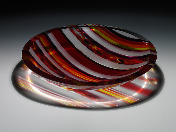 Horizons Edge Red Striped Bowl - Art Glass Bowl - by Patti & Dave Hegland