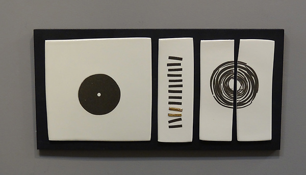 Black and White and a Little Bit of Gold - Ceramic Wall Art - by Lori Katz