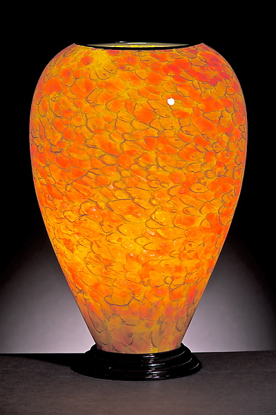 Yellow and Red Dotted Lamp - Art Glass Table Lamp - by Curt Brock