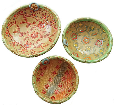 Three Nested Bowls - Ceramic Bowls - by Laurie Pollpeter Eskenazi
