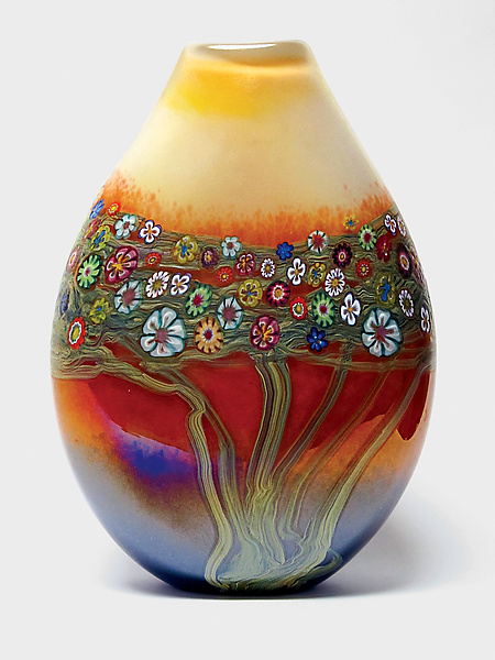 Mango Vines Pouch - Art Glass Vase - by Ingrid Hanson and Ken Hanson