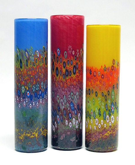 Garden Cylinder - Art Glass Vase - by Ingrid Hanson and Ken Hanson