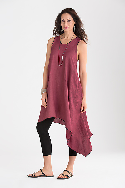 Asymmetric Long Linen Tunic - Linen Tunic - by Cynthia Ashby