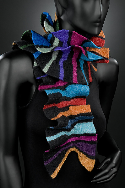 Royal Striped Scarf - Silk & Wool Scarf - by Kristin Gereau