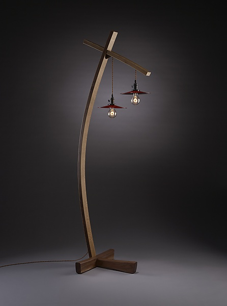 Twice Aglow - Wood Floor Lamp - by Brian Hubel