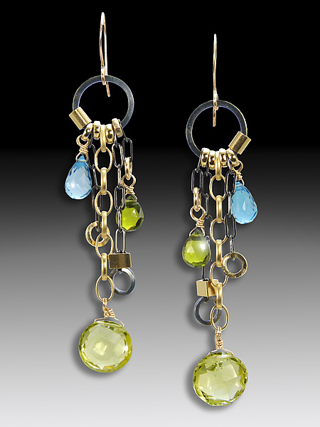 Lemon Quartz Long Jambalaya Earrings - Silver & Stone Earrings - by Suzanne Q Evon