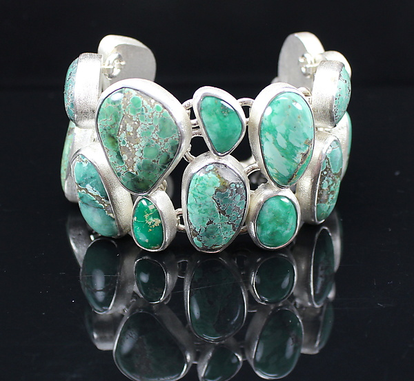 North American Turquoise Bracelet in Sterling Silver - Silver & Stone Bracelet - by Pamela Huizenga