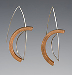 Silver & Wood Earrings by Gustav Reyes