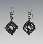 Silver & Rubber Earrings by Kathleen Nowak Tucci