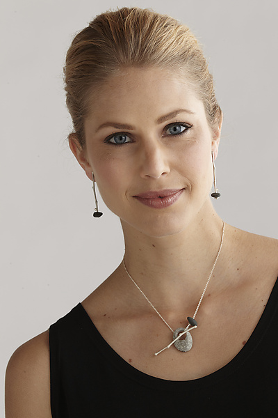 Sticks and Stones Pendant & Earrings - Silver & Stone Necklace - by Connie Ulrich