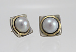 Gold, Silver, & Pearl Earrings by Connie Ulrich