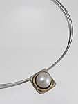 Gold, Silver, & Pearl Necklace by Connie Ulrich