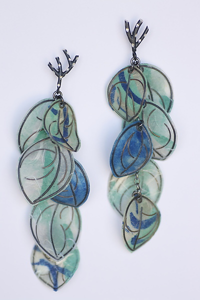 Painted Blue Earrings - Silver & Paper Earrings - by Carol Windsor