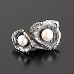 Silver & Pearl Earrings by Aleksandra Vali